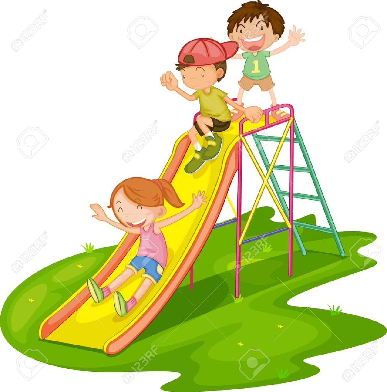 cartoon kids illustration of kids playing at a park - Cartoon Children Pictures