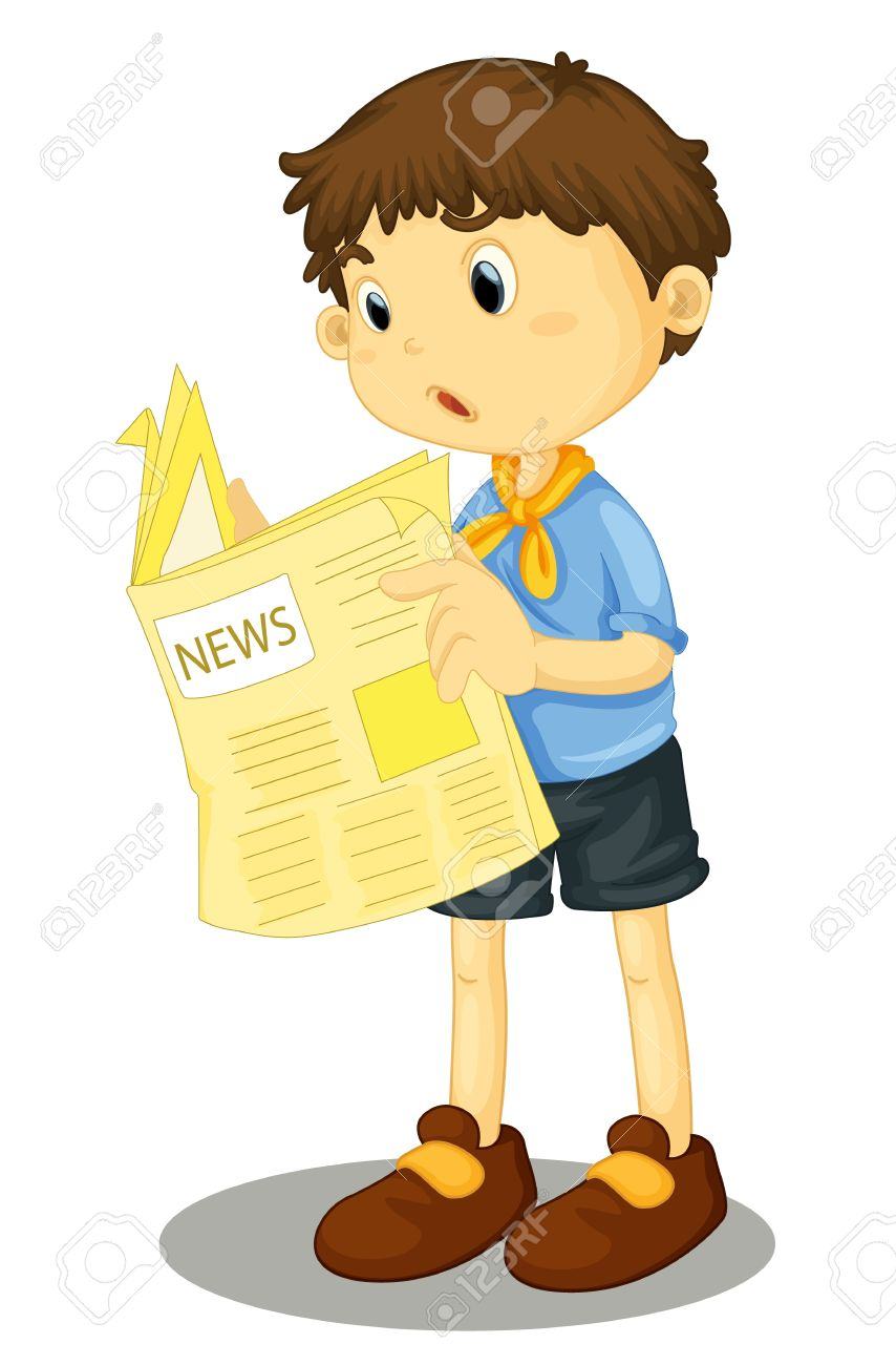 Illustration of a young boy reading the paper Stock Vector - 13233400
