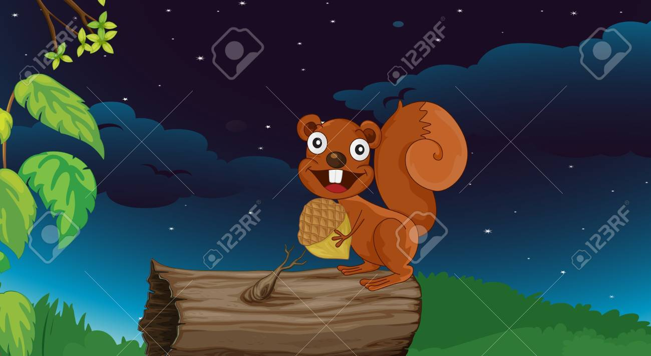 Illustration of a squirrel on a log Stock Vector - 13268573