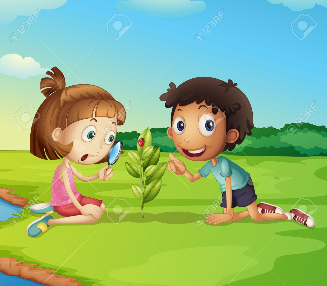 Illustration Of 2 Kids Exploring Nature Royalty Free Cliparts ...