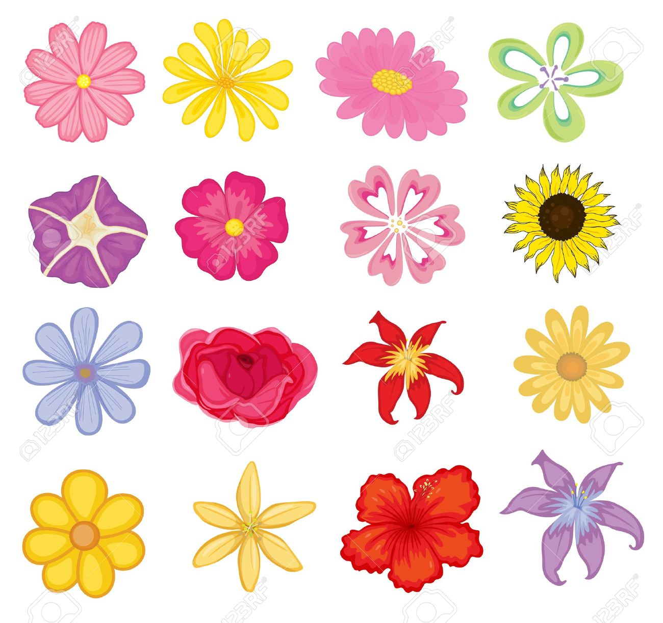 Illustrated set of colorful flower objects royalty free cliparts illustrated set of colorful flower objects stock vector 13268594 izmirmasajfo