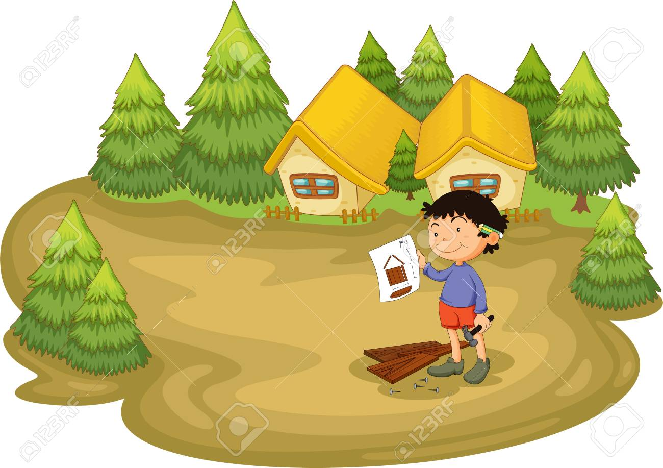 Young carpenter in the woods Stock Vector - 13268744