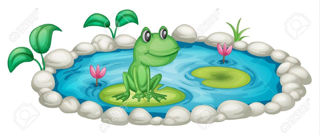 illustration of a small pond with a frog royalty free cliparts rh 123rf com clip art pondering deeply joyfully clip art ponds
