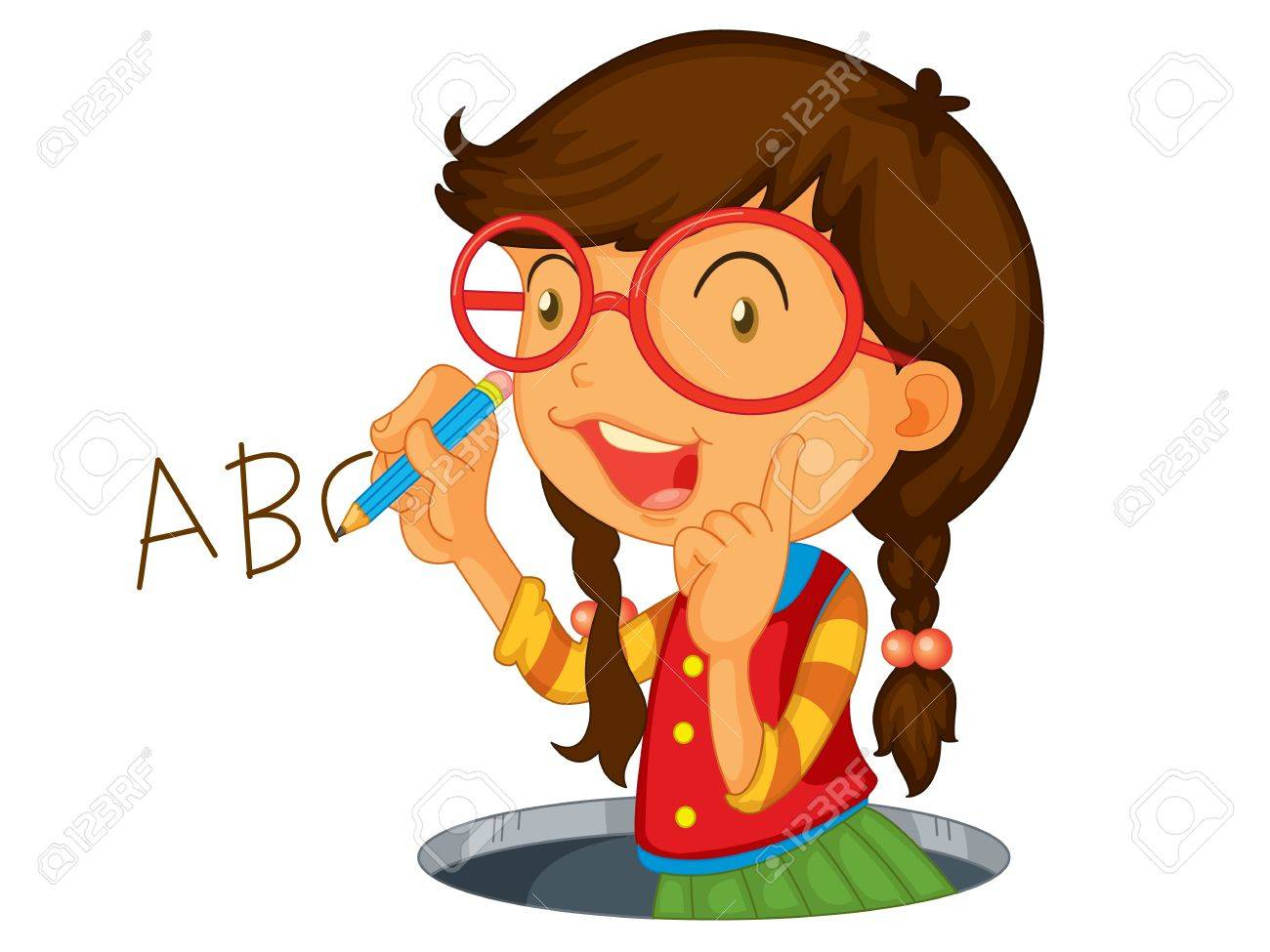 Girl writing abc on wall Stock Vector - 13376747