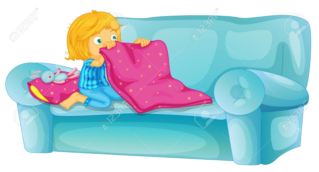 Girl getting ready to sleep on sofa Stock Vector - 13376867
