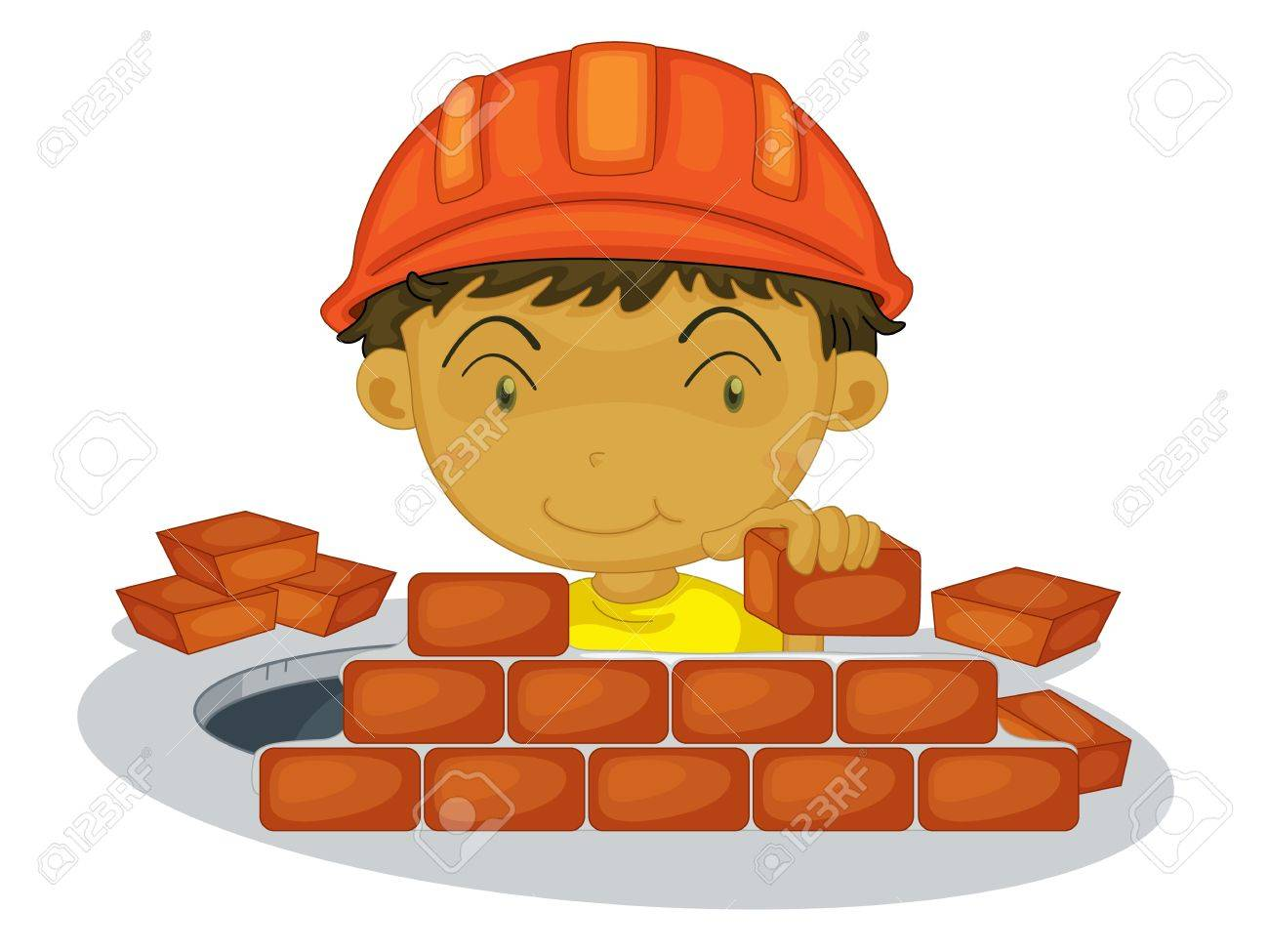 Under construction boy on white background Stock Vector - 13376727
