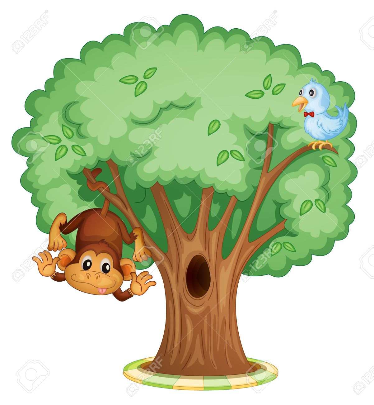 monkey and a bird in a tree royalty free cliparts vectors and