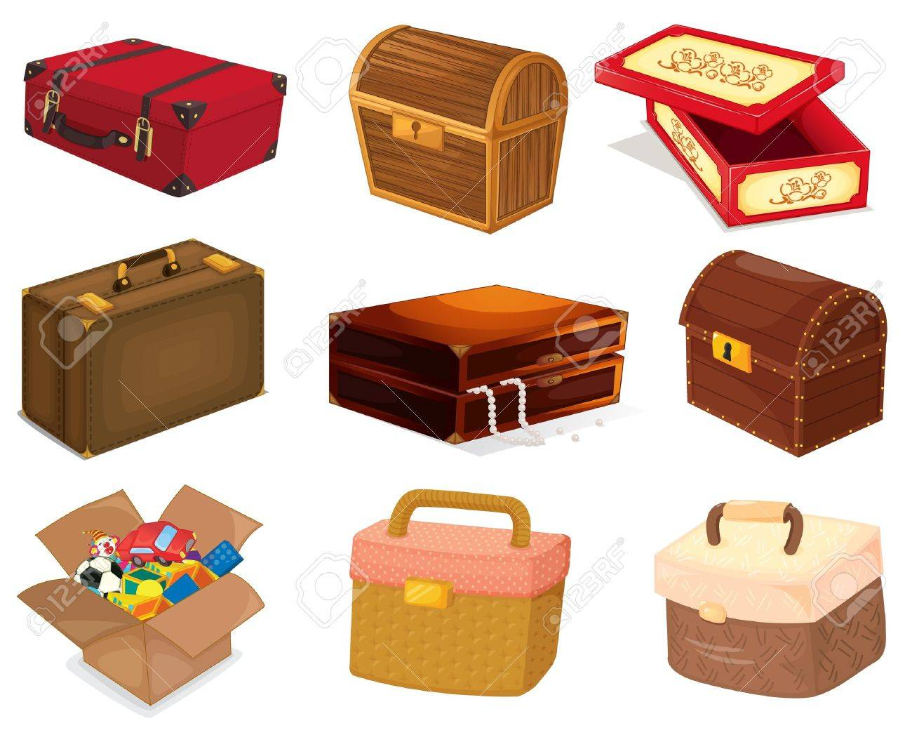A collection of various bags and boxes Stock Vector - 13376868