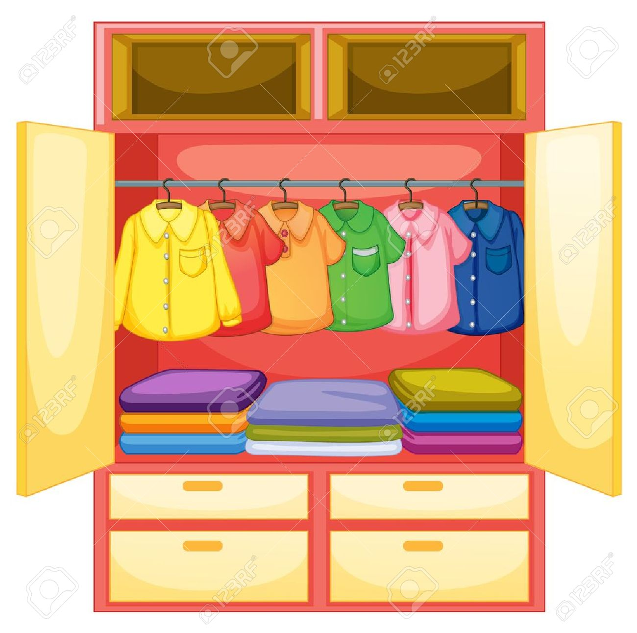 Wardrobe With Clothes On White Royalty Free Cliparts Vectors And