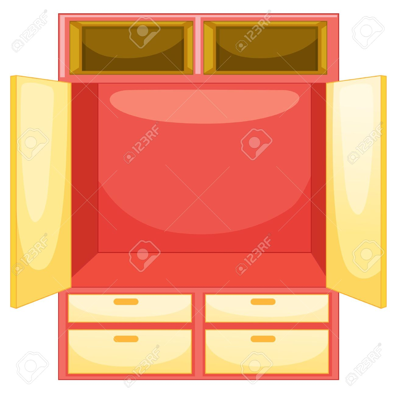 Empty Wardrobe On A White Background Stock Vector