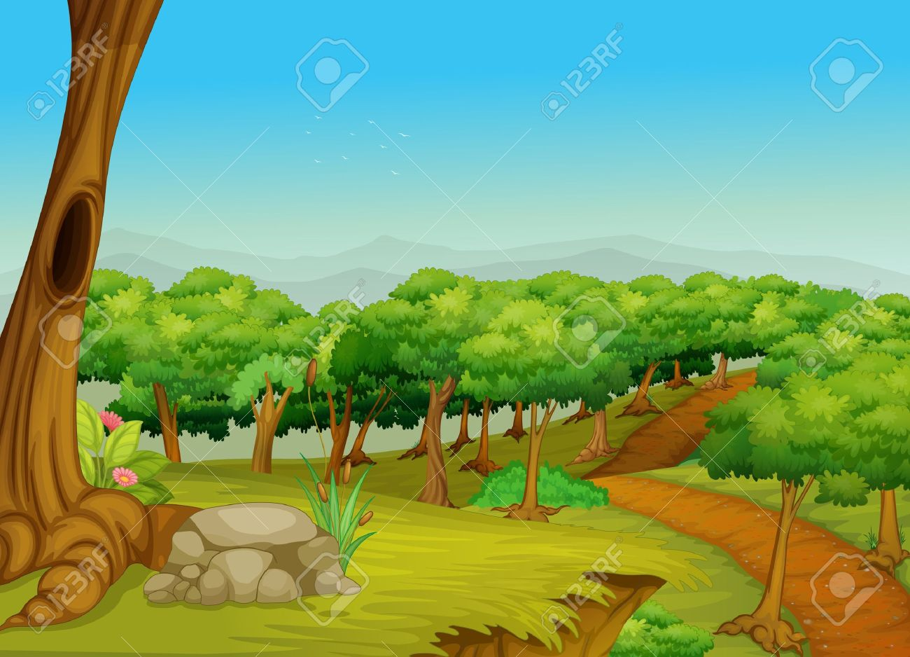 Illustration of a dirt path in the forest Stock Vector - 13376855