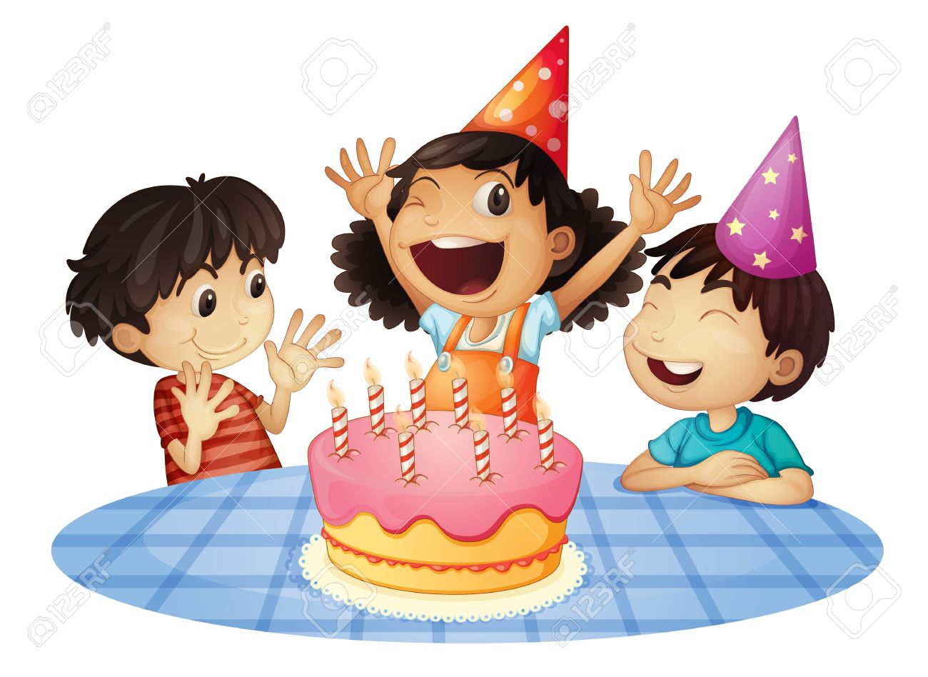 Young Kids At A Birthday Party Royalty Free Cliparts Vectors And
