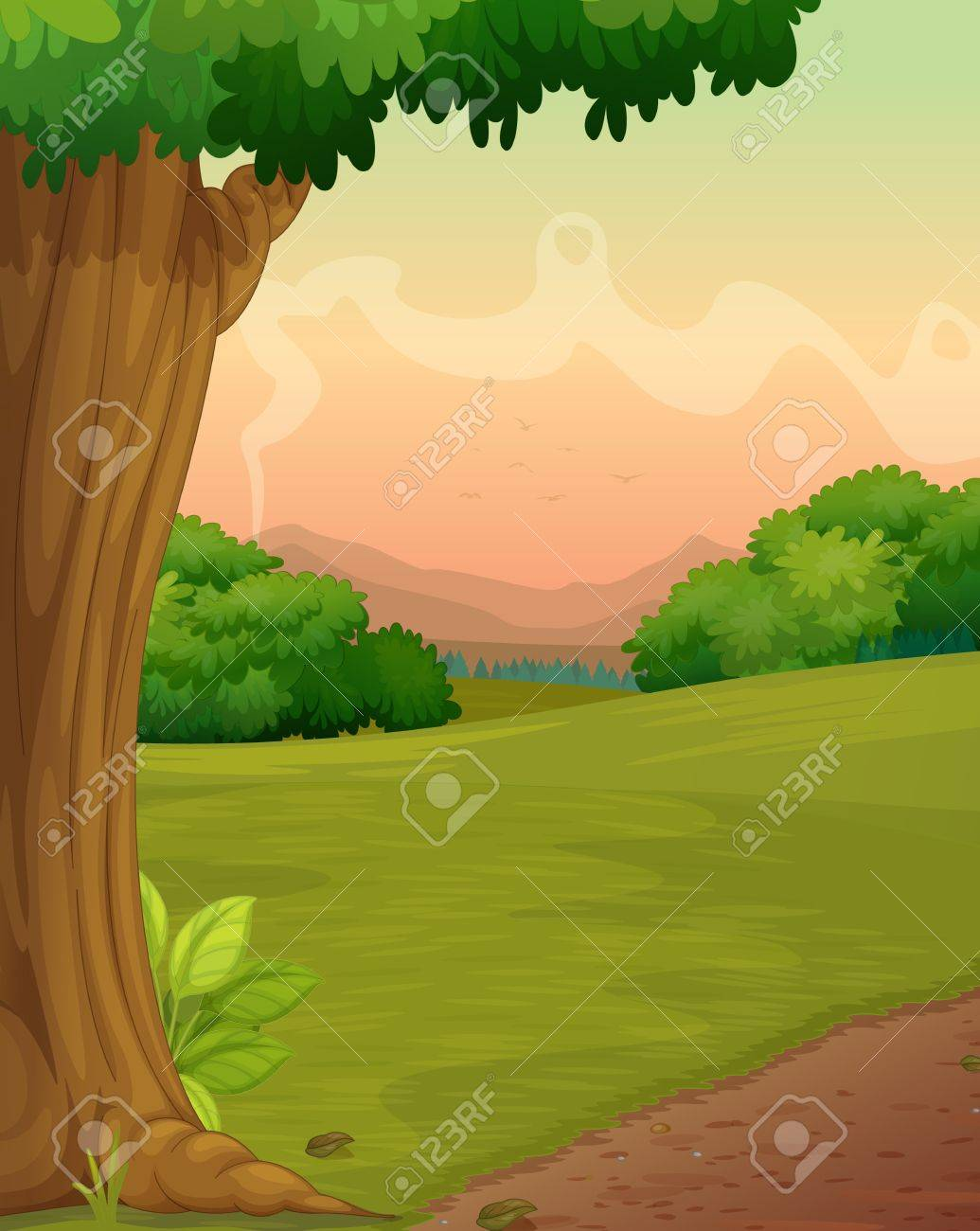 Illustration of a path in a rural setting Stock Vector - 13376900