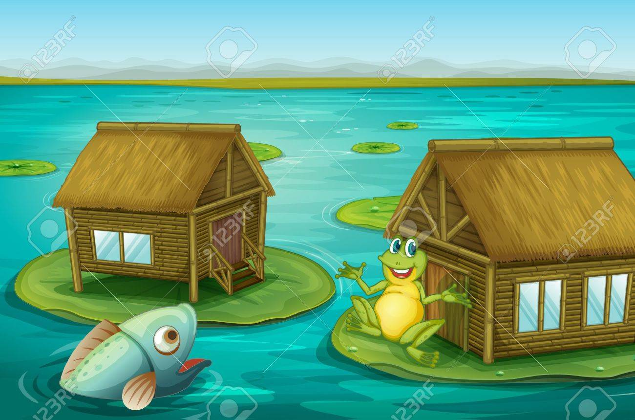 Illustraton of cabins on the water with a frog and a fish Stock Vector - 13424933