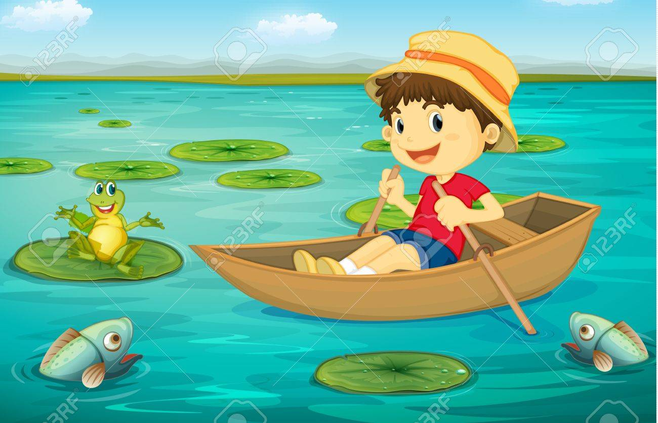 Illustration of boy in boat in a lake with animal characters Stock Vector - 13424940