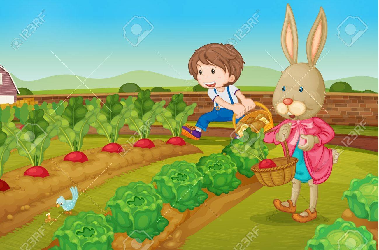 Boy and a rabbit picking raddishes Stock Vector - 13424938