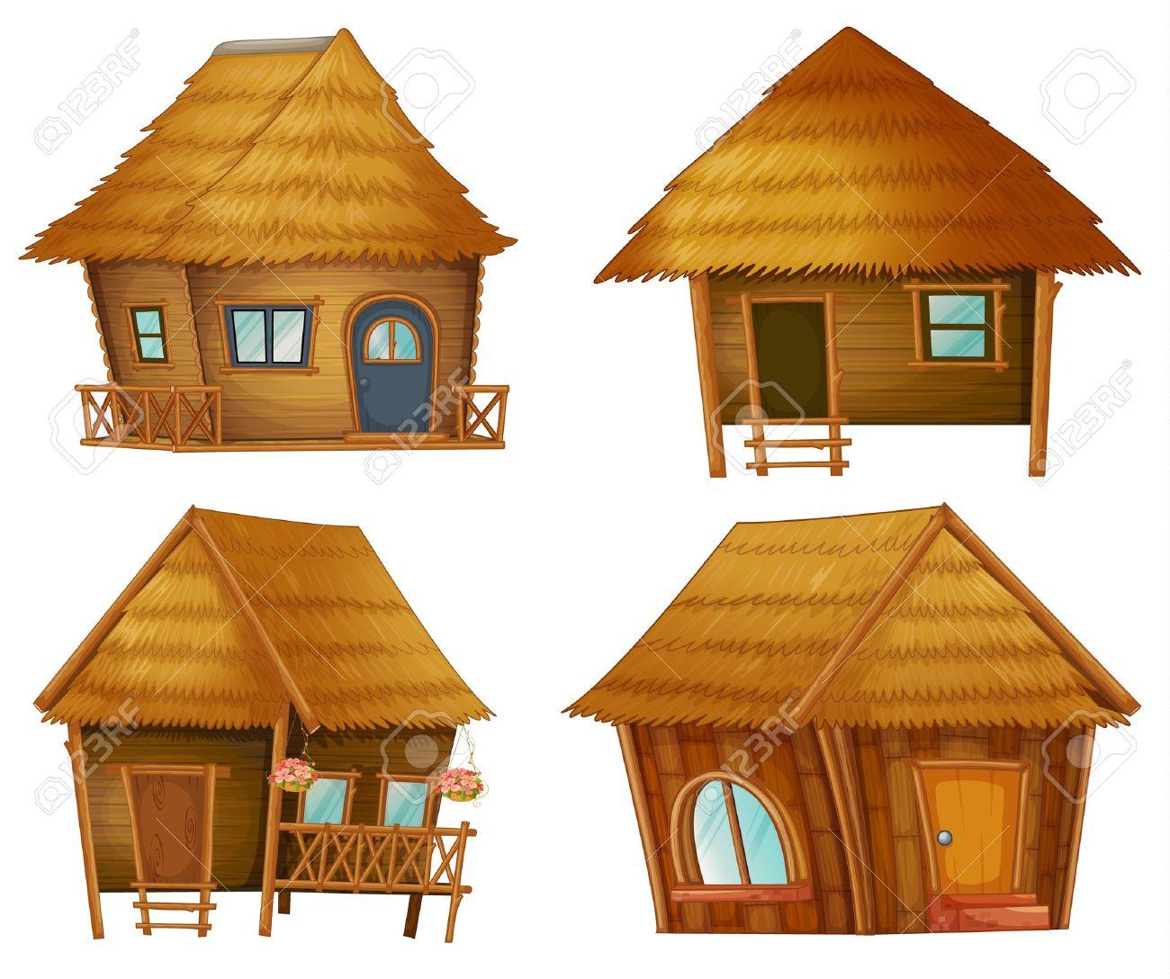 Illustraiton on huts on white background Stock Vector - 13494262