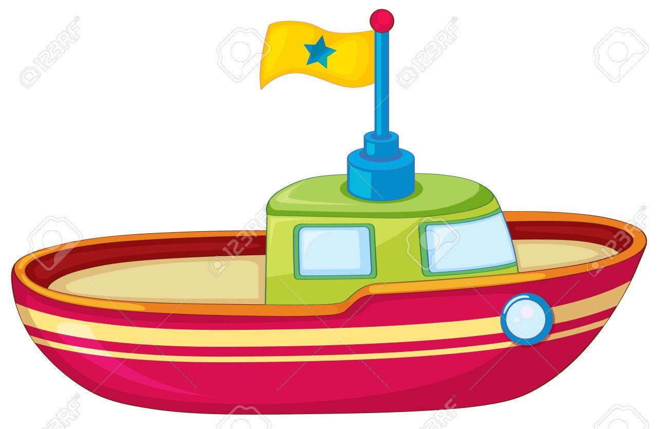 ilustración de un barco de juguete en blanco ilustraciones