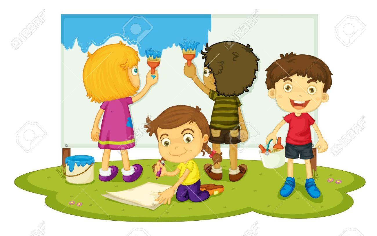 4 人の子供絵画の図 ロイヤリティフリークリップアート、ベクター