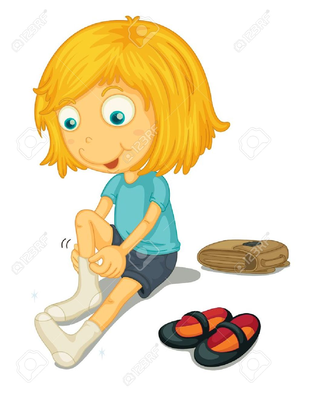 Illustration of girl putting on shoes Stock Vector - 13516364