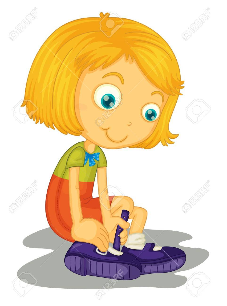 Illustration of girl with shoes Stock Vector - 13524543