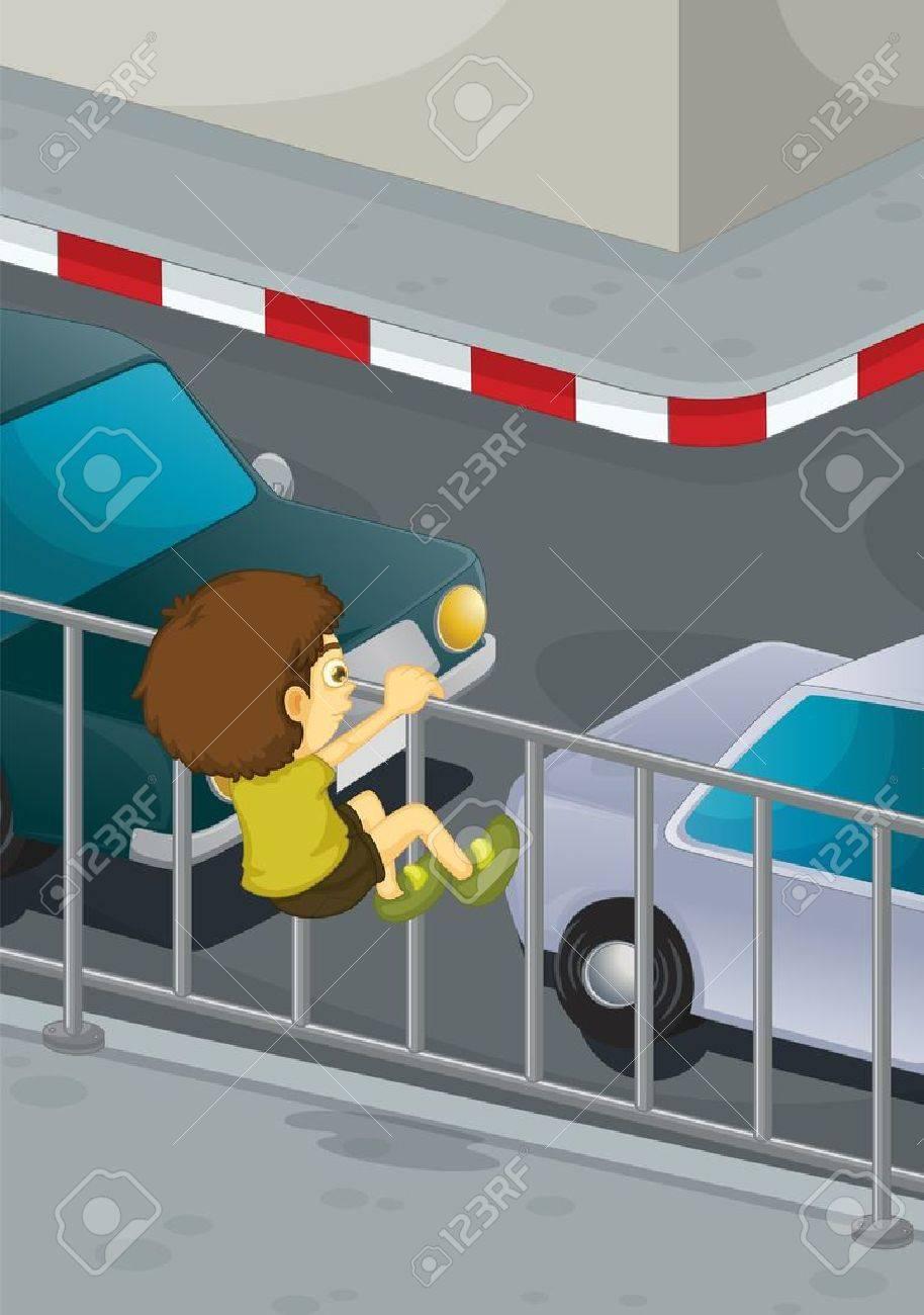 Illustration of boy climbing onto road Stock Vector - 13524643