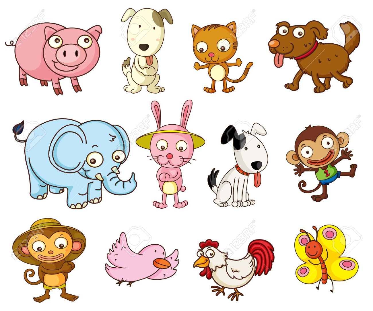 illustration of cartoon animals on white royalty free cliparts rh 123rf com free animal clipart black and white free animal clipart black and white
