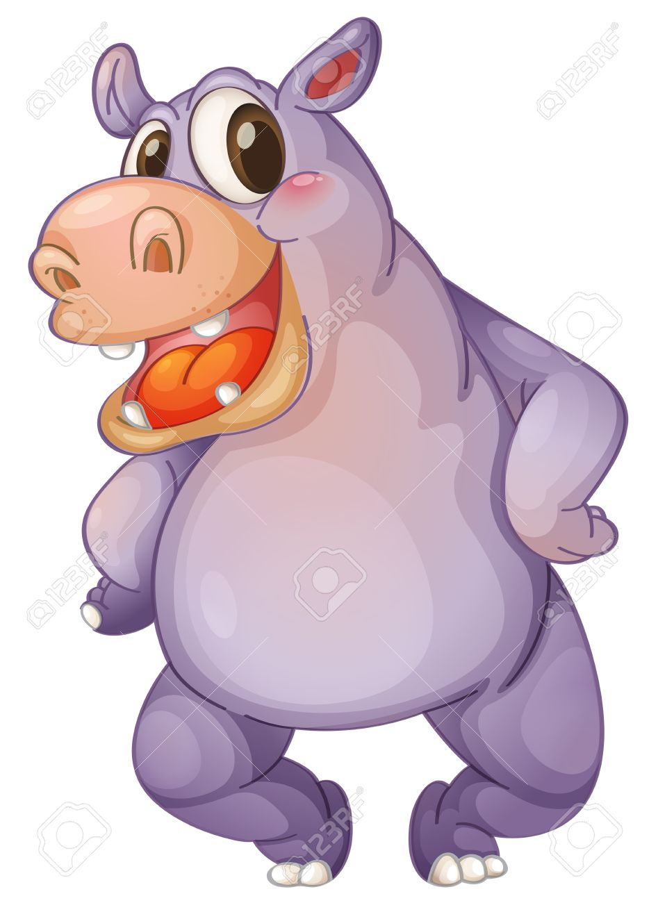 Illustration of a animated hippo Stock Vector - 13524665