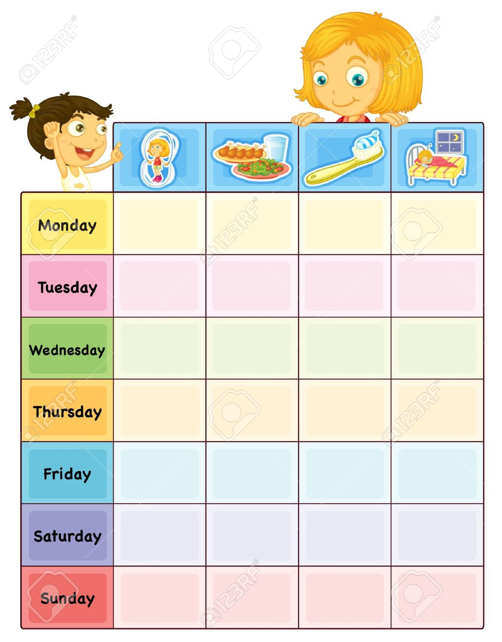 Illustration Of A Daily Routine Chart Royalty Free Cliparts ...