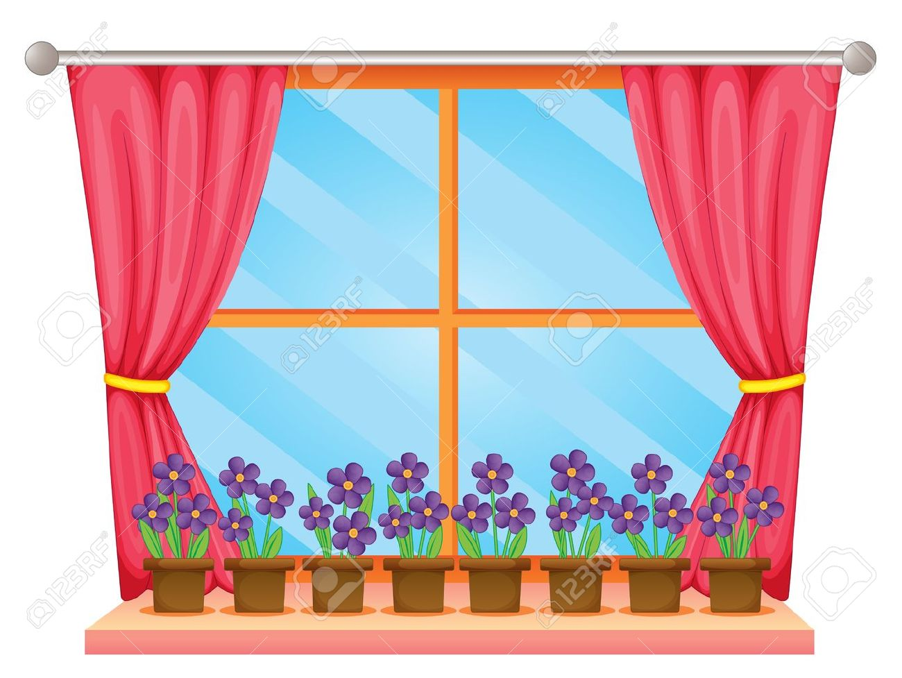 Illustration Of A Window Sill With Flowers Royalty Free Cliparts ... for Window With Curtains Illustration  75tgx