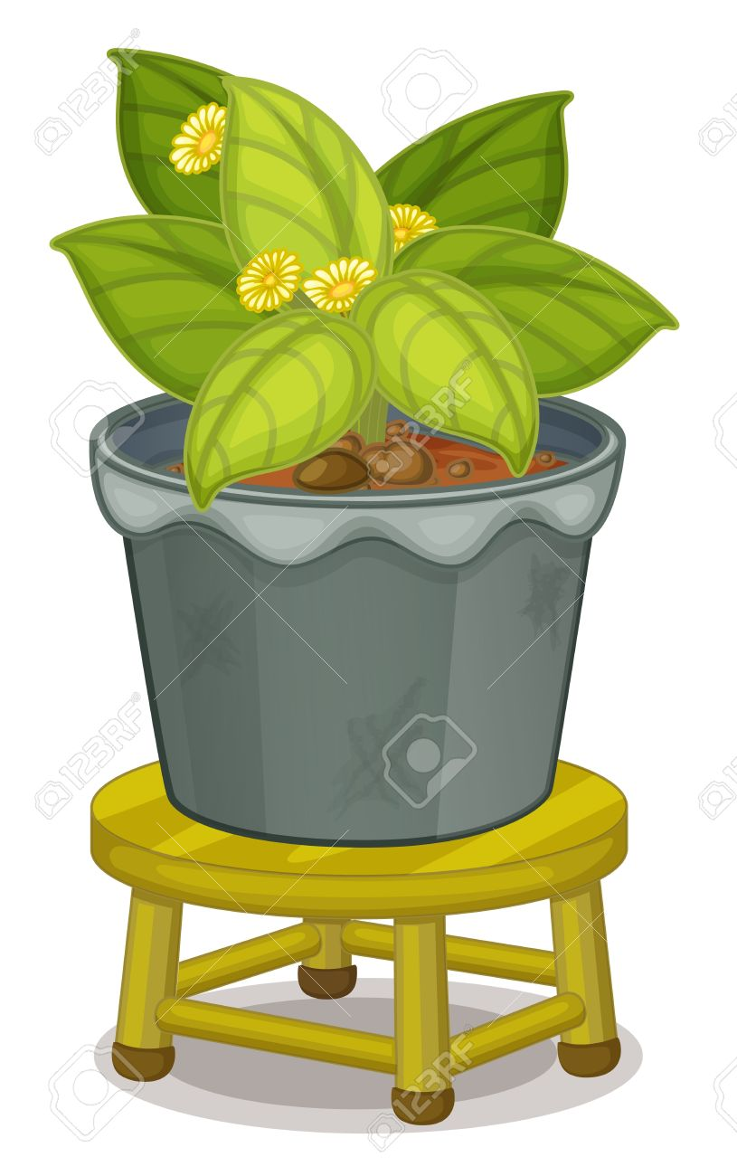 illustration of a pot plant on a stool Stock Vector - 13559789