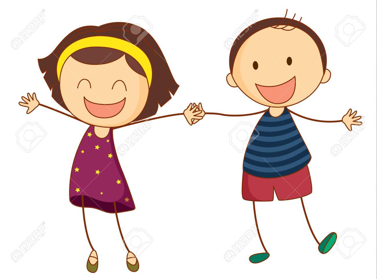 手を繋いでいる 2 人の女の子のイラストのイラスト素材ベクタ Image