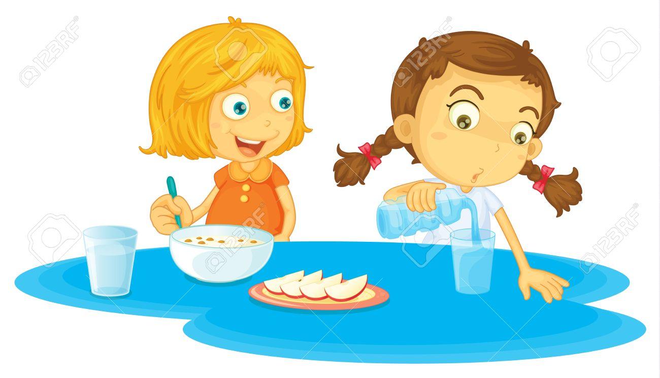 Illustration of two girls eating breakfasts Stock Vector - 13593840