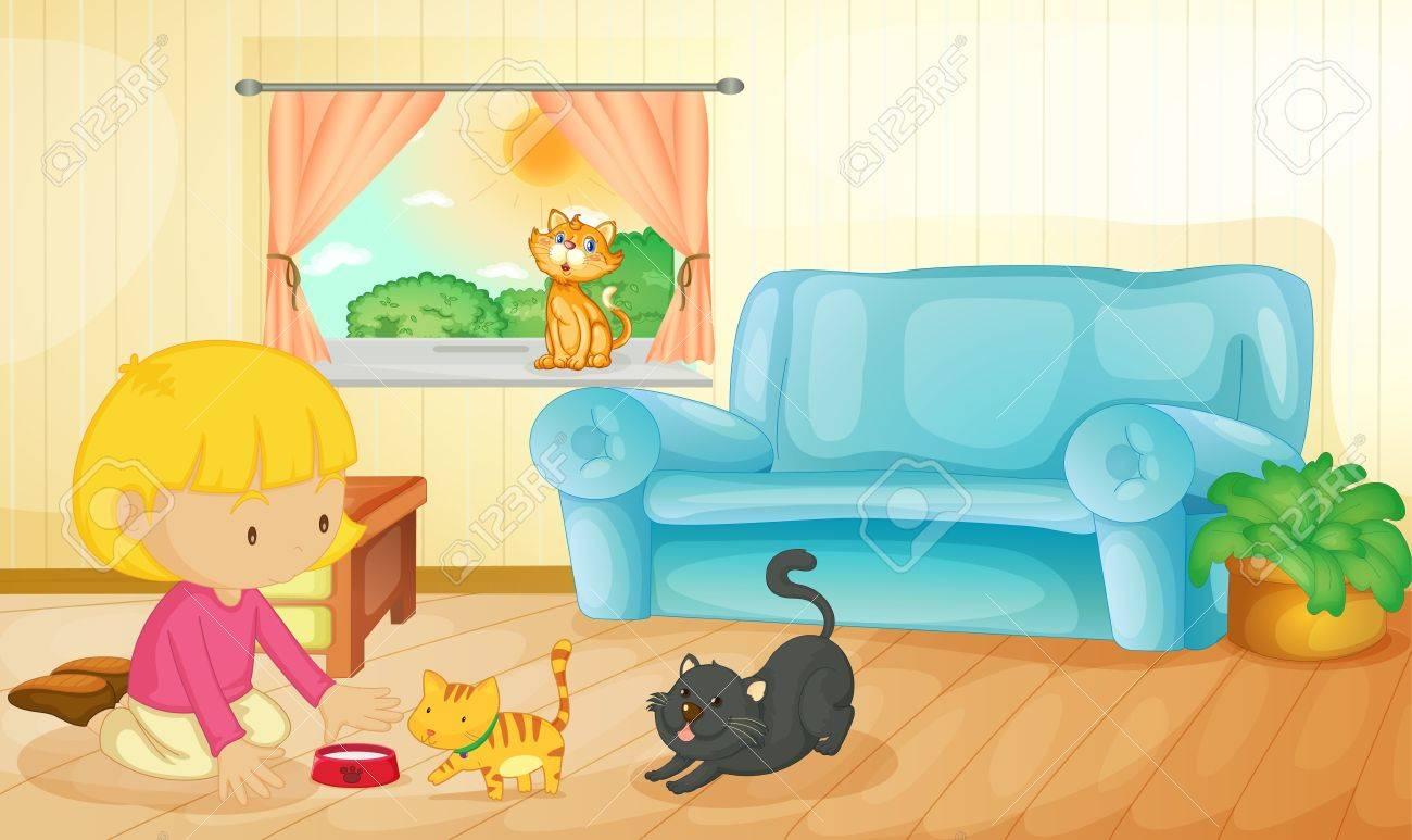 Illustration of a girl feeding her kittens Stock Vector - 13593856