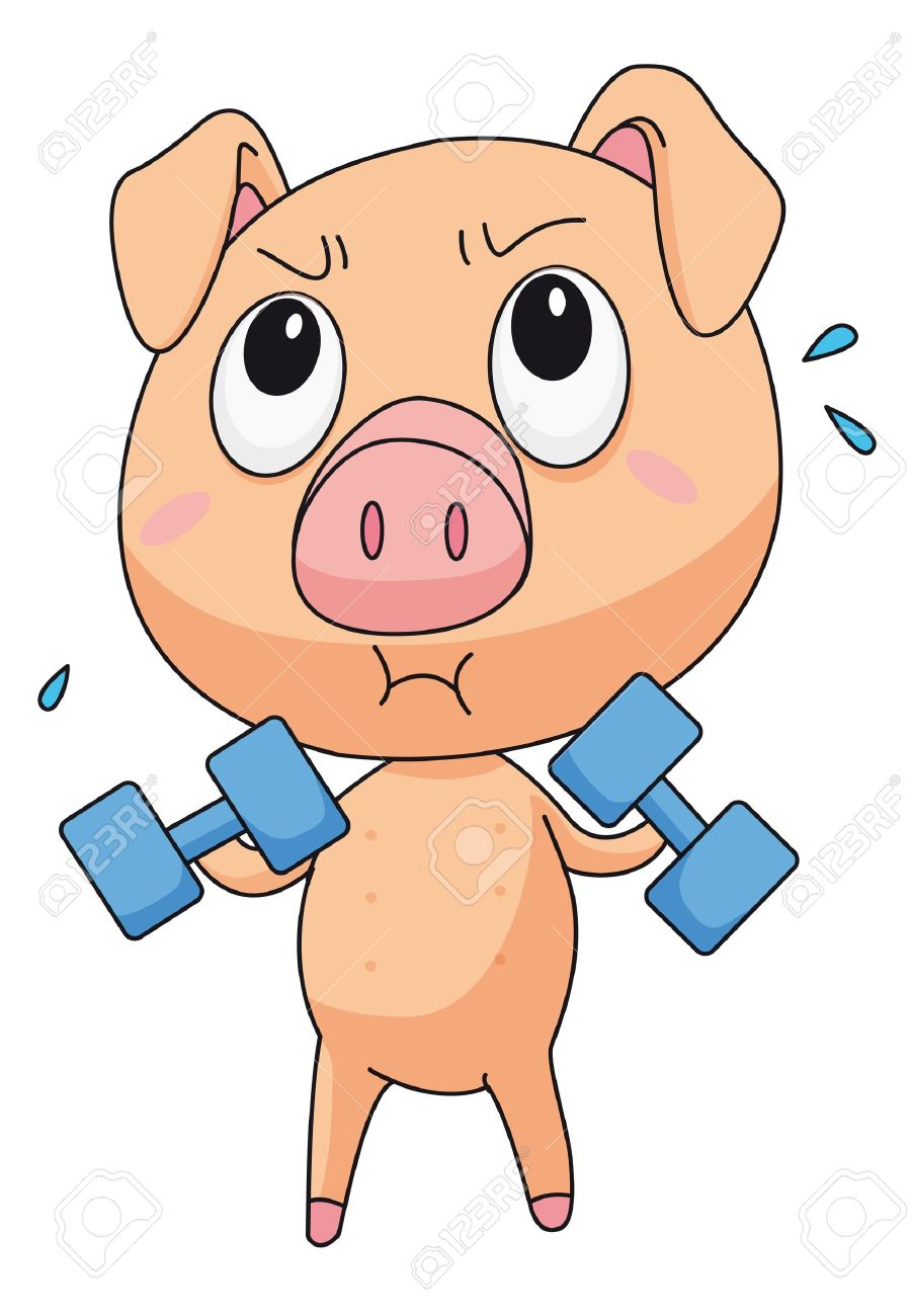 Illustration of pig lifting weights Stock Vector - 13593831