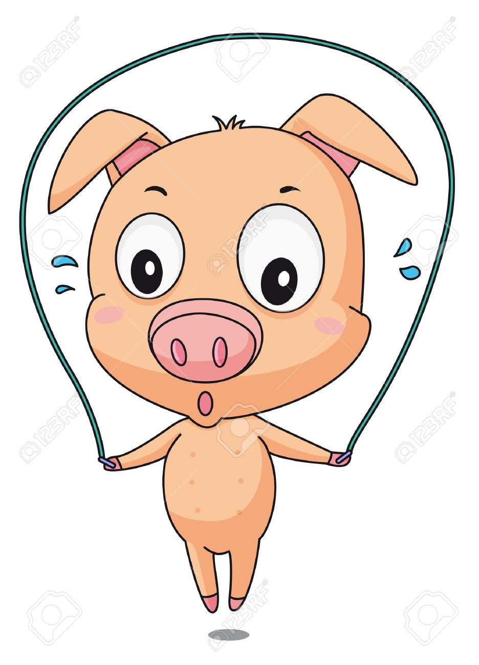Illustration Of A Pig Skipping Royalty Free Cliparts, Vectors, And ...