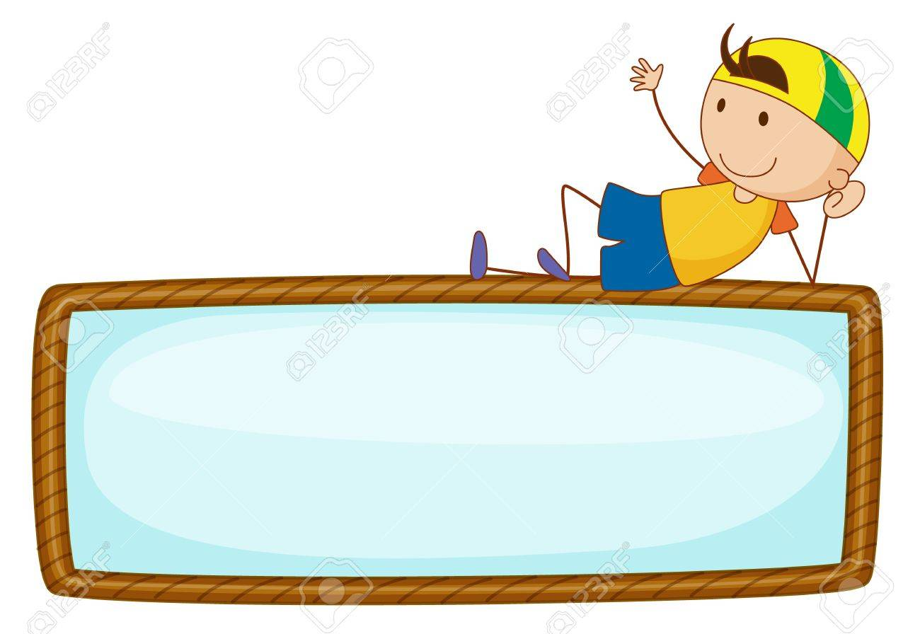 Illustration of boy on top of sign Stock Vector - 13593834