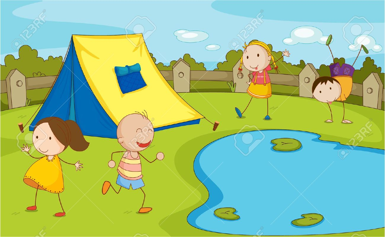 Illustration of group of camping kids Stock Vector - 13632010
