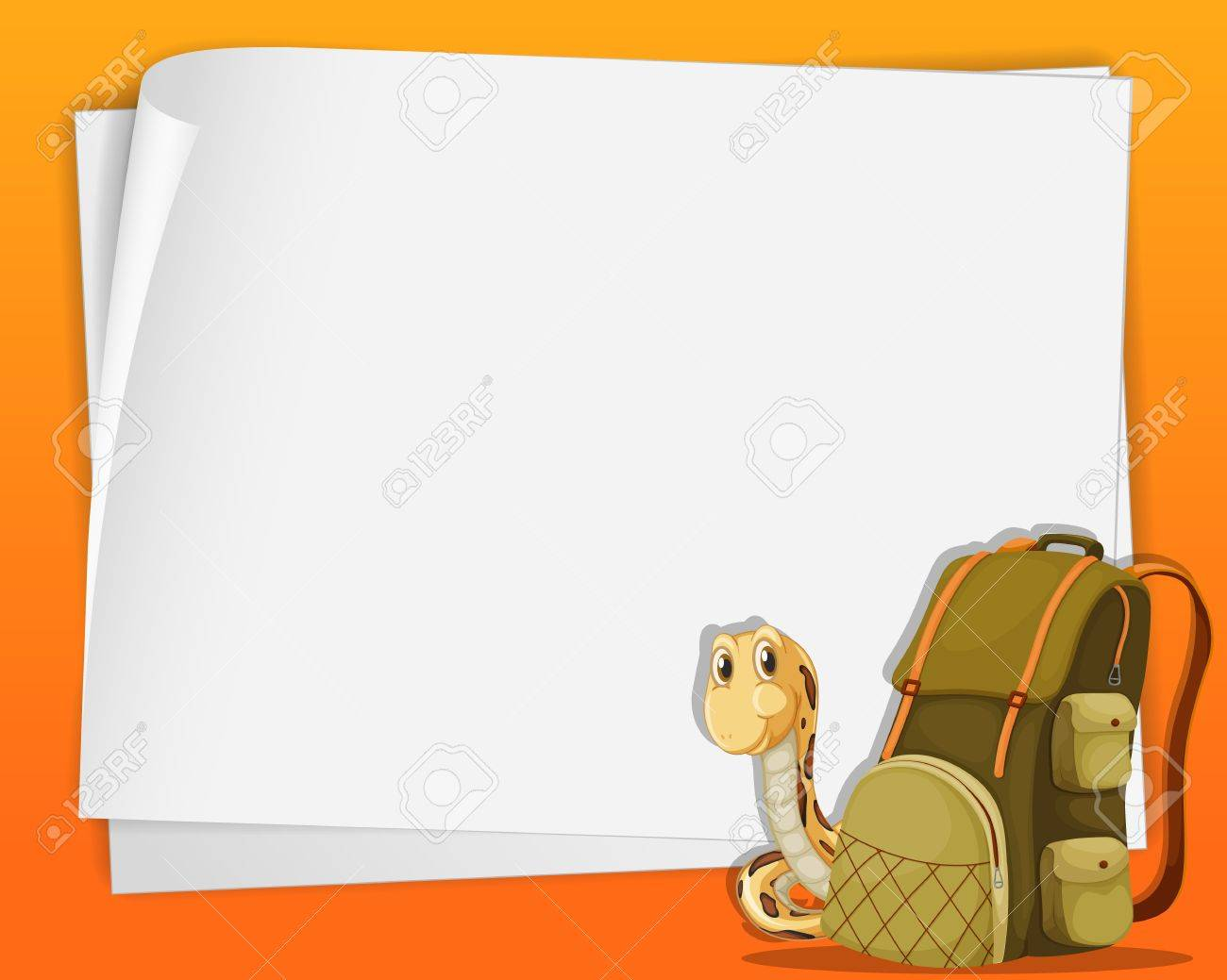 White paper template with snake and a backpack Stock Vector - 13635773