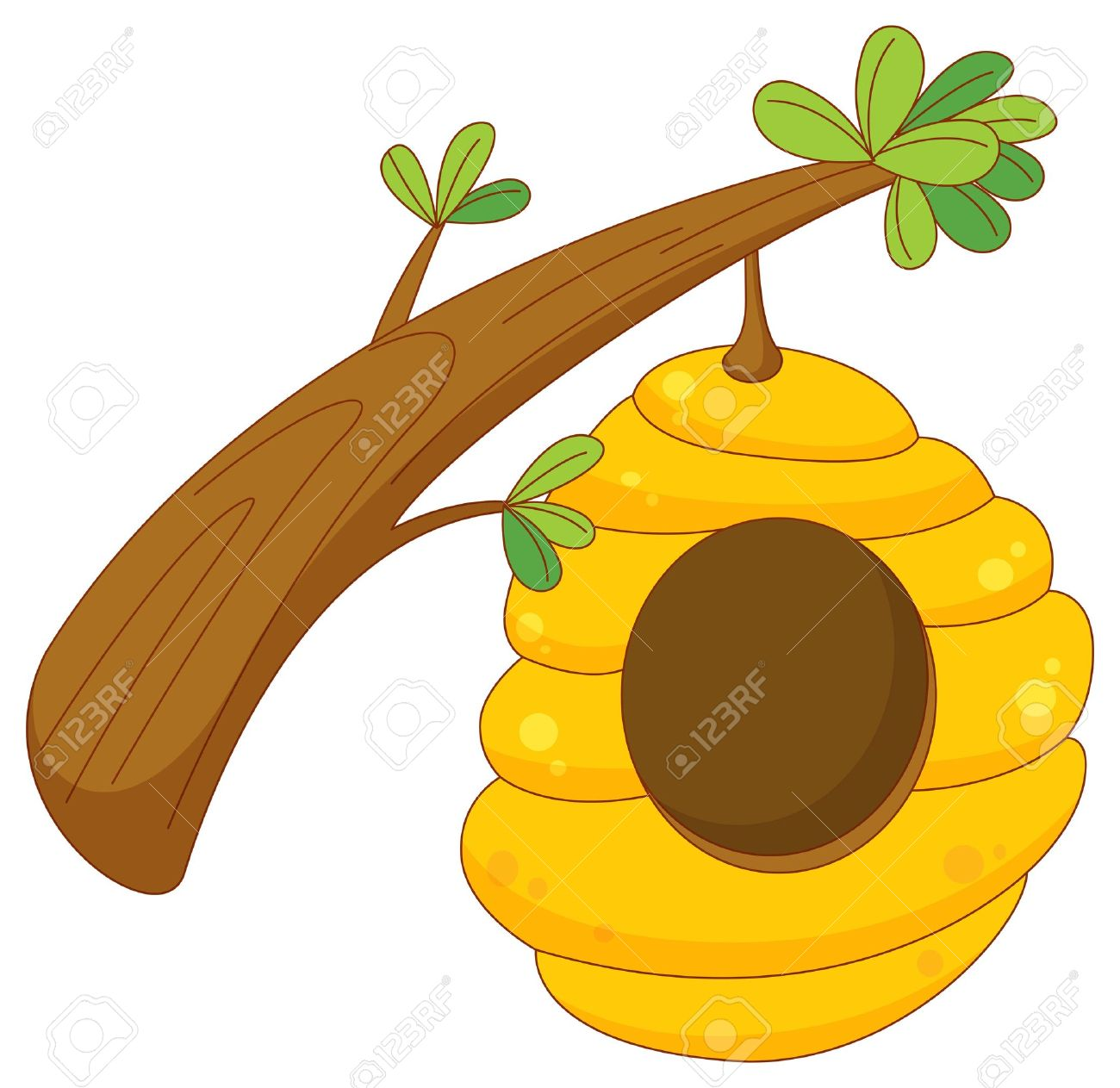 cartoon of a beehive hanging from a branch Stock Vector - 13631951