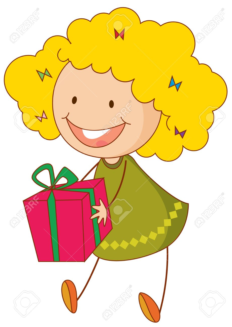 Receiving a gift stock photos royalty free receiving a gift illustration of girl with a gift negle Gallery