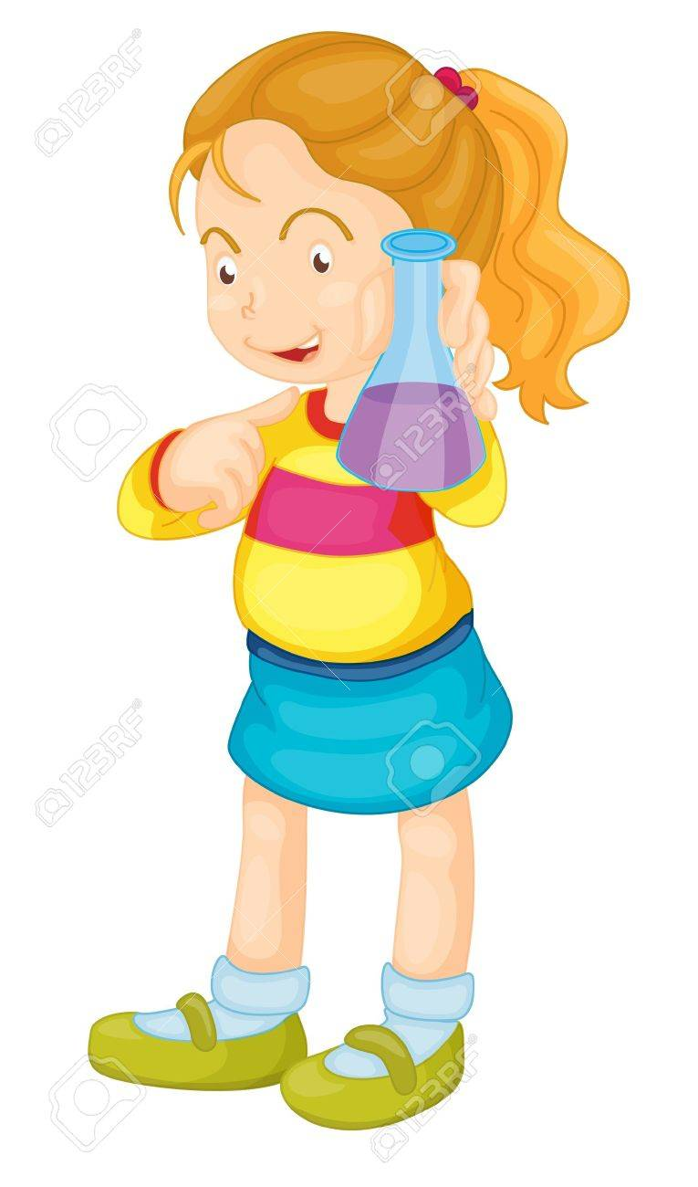 Illustration of a girl showing a flask Stock Vector - 13667404