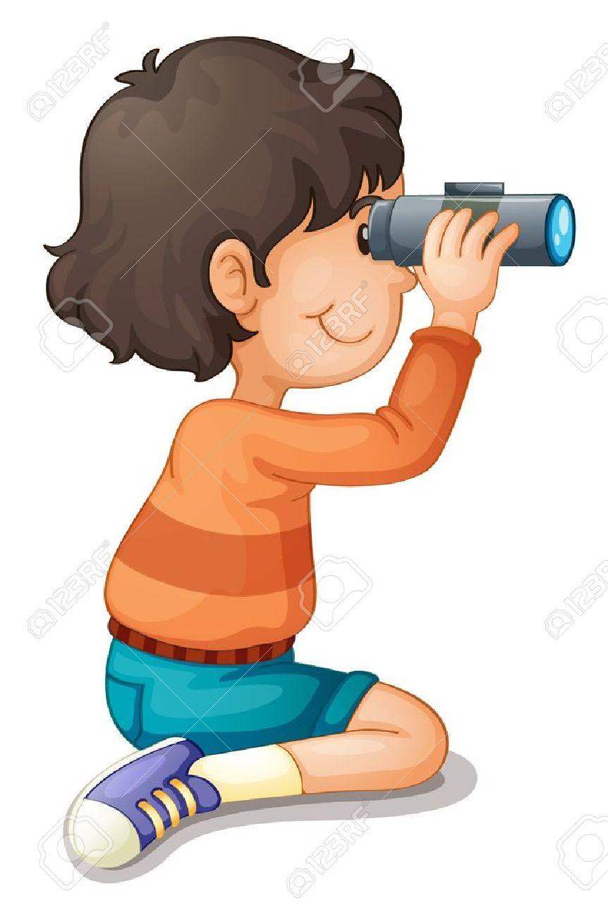 Illustration of a boy using binoculars Stock Vector - 13699851