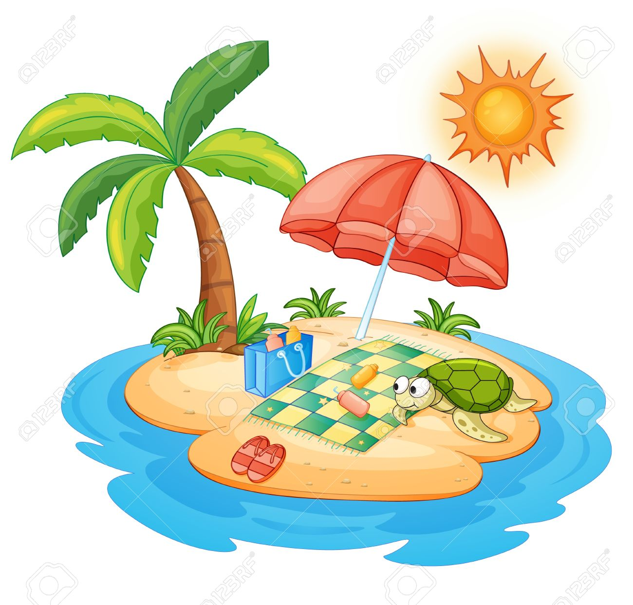 illustration of a turtle on an island Stock Vector - 13700111
