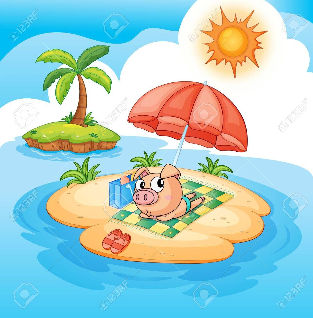 illustration of a pig sun baking Stock Vector - 13700112