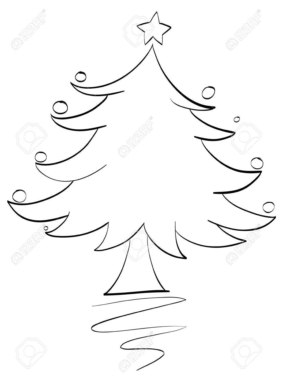 illustration of an xmas tree outline Stock Vector - 13700051