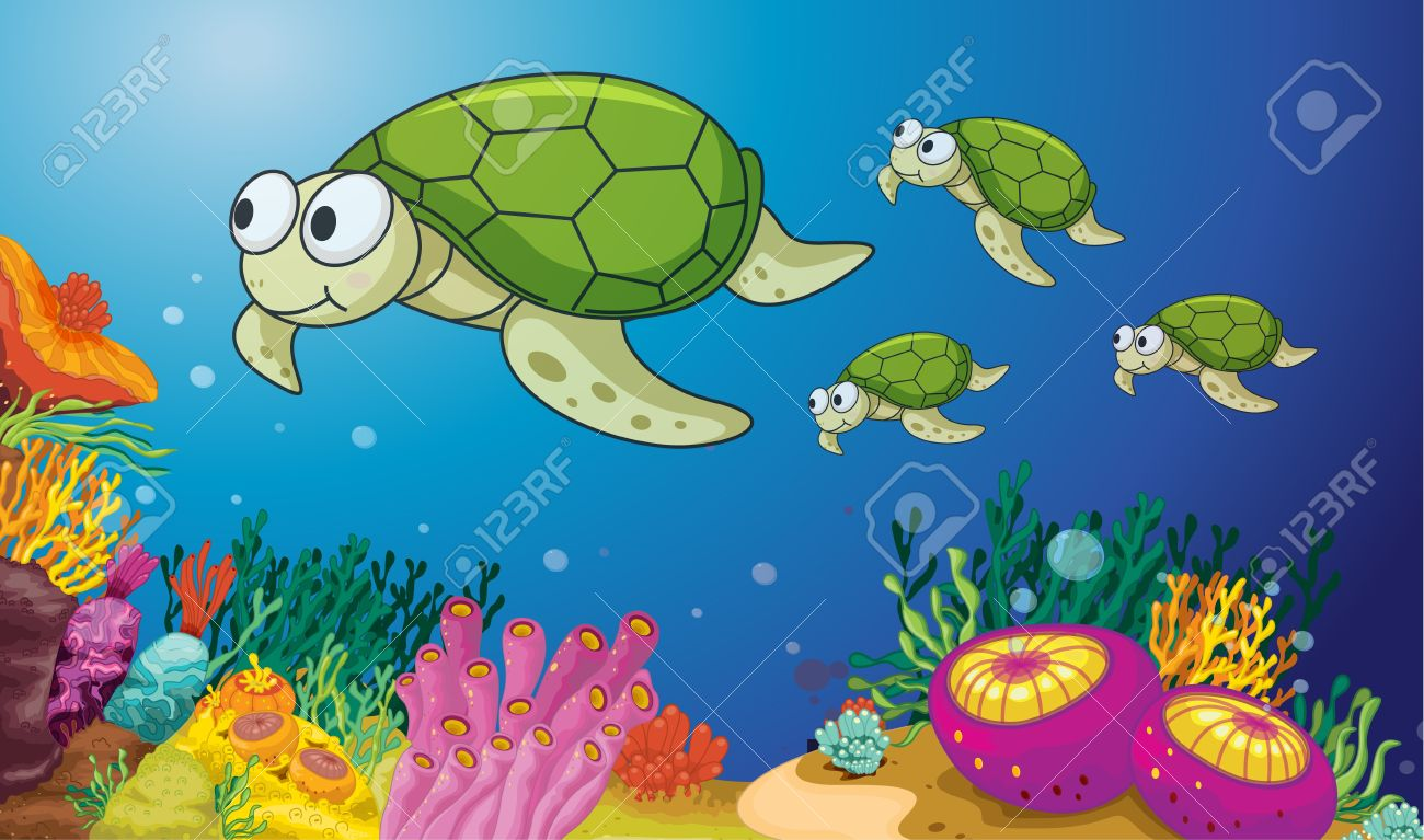illustration of turtles underwater Stock Vector - 13700116