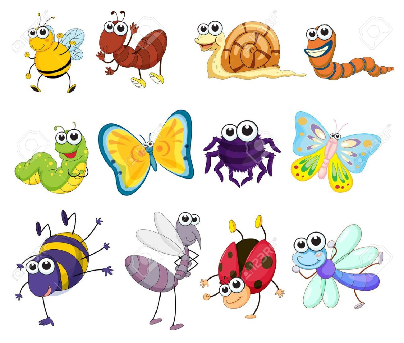 illustration of a group of bugs royalty free cliparts vectors