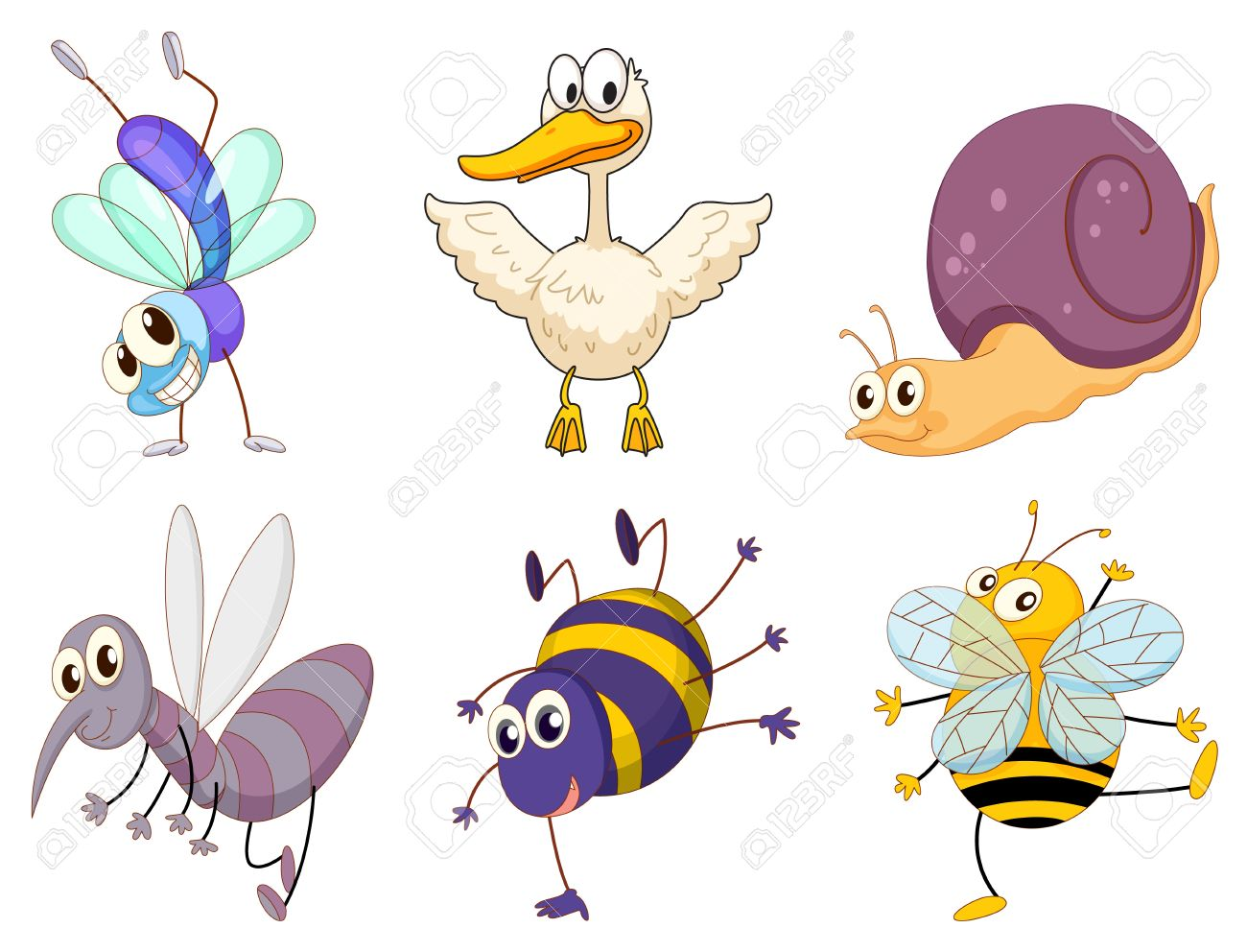 illustration of a set of cute animals royalty free cliparts