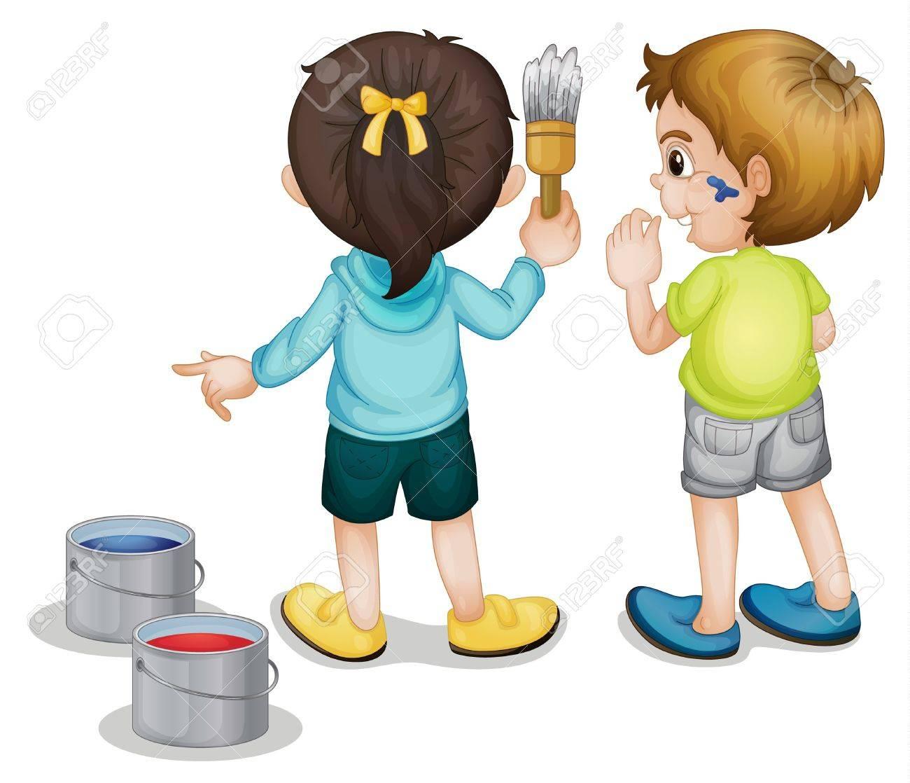 2 人の子供の絵のイラスト ロイヤリティフリークリップアート